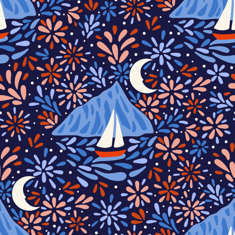 Fireworks are flowers in the sky fabric by elena_naylor on Spoonflower - custom fabric
