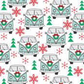 blue christmas vintage van