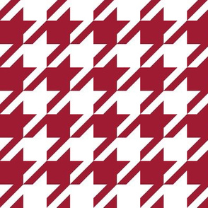 houndstooth crimson and white minimalist pattern print fabric