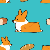 Corgi Bread Loaf Sploot Blue