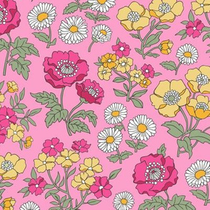 Floral Flowers Vintage Garden Pink Yellow On Pink