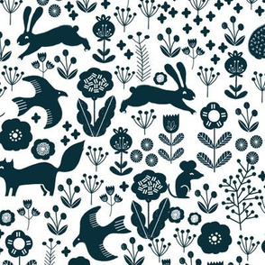 spring // navy florals spring animals woodland fabric baby nursery design