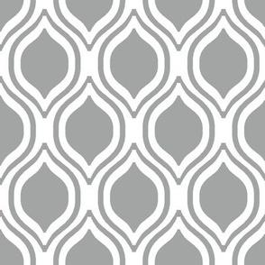 ogee grey and white minimalist pattern print fabric