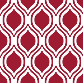 ogee crimson and white minimalist pattern print fabric