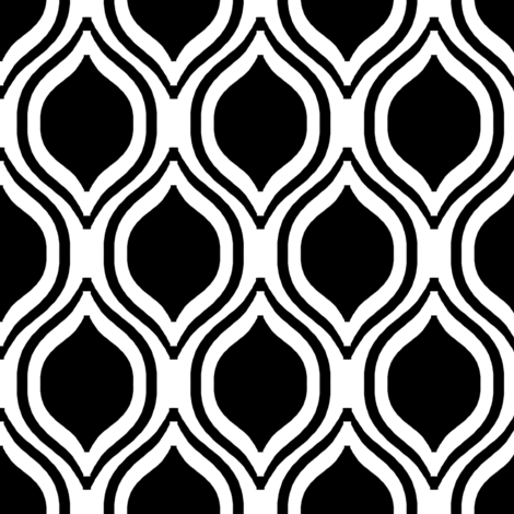 ogee black and white minimalist pattern print fabric  fabric by charlottewinter on Spoonflower - custom fabric