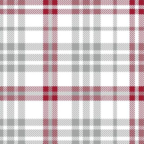 Plaid crimson grey and white minimalist pattern print fabric 3
