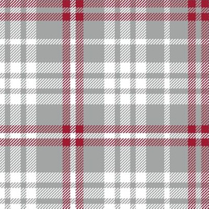 Plaid crimson grey and white minimalist pattern print fabric 2