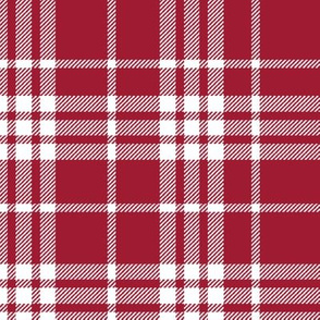 Plaid crimson grey and white minimalist pattern print fabric 1