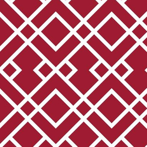 Trellis crimson and white minimalist pattern print fabric