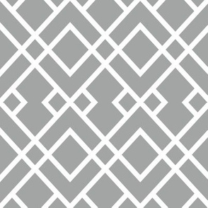 Trellis grey and white minimalist pattern print fabric