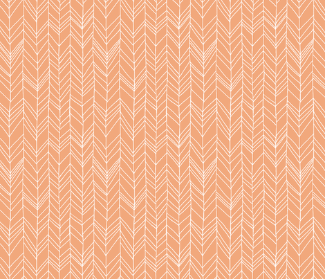 Featherland Light Orange/White fabric by leanne on Spoonflower - custom fabric