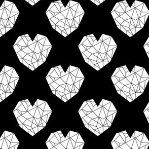 geo hearts fabric black and white minimal geometric heart