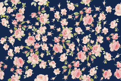 Saint Colette June Roses atlantic navy fabric by lilyoake on Spoonflower - custom fabric