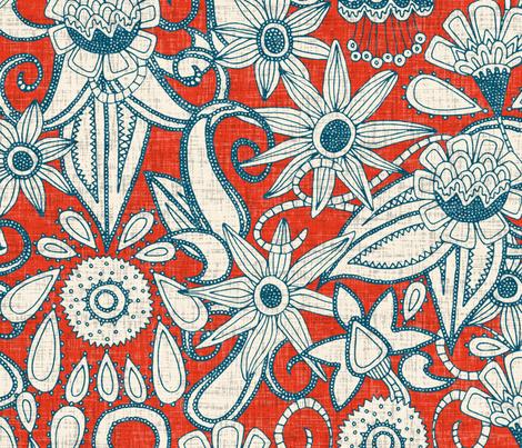 sarilmak fire orange blue large fabric by scrummy on Spoonflower - custom fabric