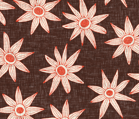 sema brown fire orange large fabric by scrummy on Spoonflower - custom fabric