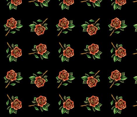 Tattoo Roses fabric by elladorine on Spoonflower - custom fabric