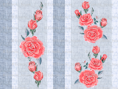 Old Fashioned Rose Stripe Red Roses on Blue background