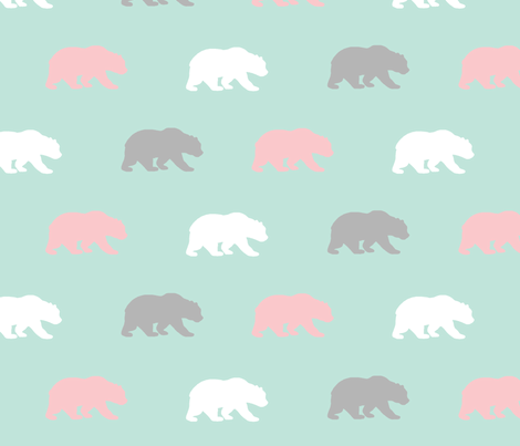 Bears - mint,pink,grey - Evenstar - woodland-ch-ch-ch fabric by sugarpinedesign on Spoonflower - custom fabric
