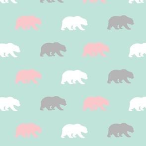 Bears - mint,pink,grey - Evenstar - woodland-ch-ch-ch