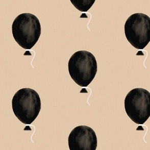 Watercolor balloons - black on peach hand drawn balloons