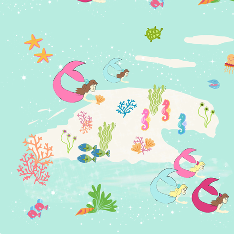 mermaid lagoon 84 fabric by drapestudio on Spoonflower - custom fabric