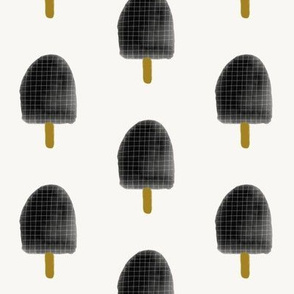 Watercolor ice cream - black and mustard watercolor popsicles