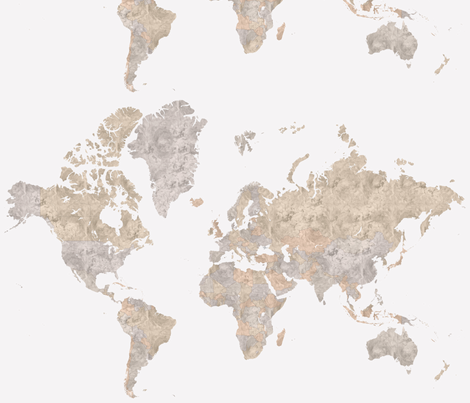 Watercolor world map in neutrals fabric by blursbyai on Spoonflower - custom fabric