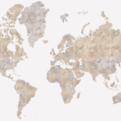 Watercolor world map in neutrals