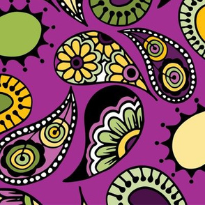 Purple and Yellow Paisley