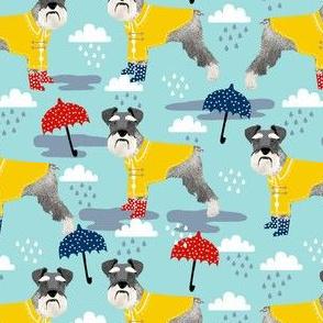 schnauzer raincoat dog fabric pattern spring  light blue