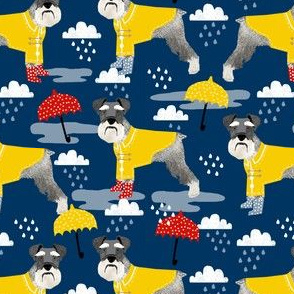 schnauzer raincoat dog fabric pattern spring navy