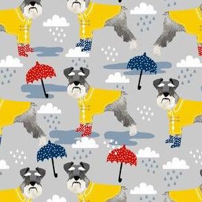 schnauzer raincoat dog fabric pattern spring light grey