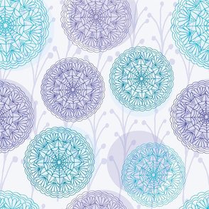 Purple Mandalas and Sprigs