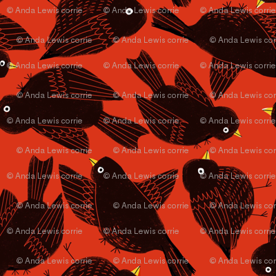 Blackbirds on Red