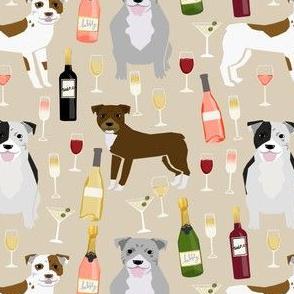 Pitbull wine champagne pattern dog breeds fabric tan