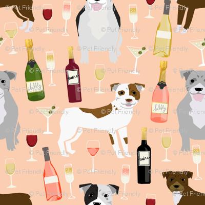 Pitbull wine champagne pattern dog breeds fabric peach