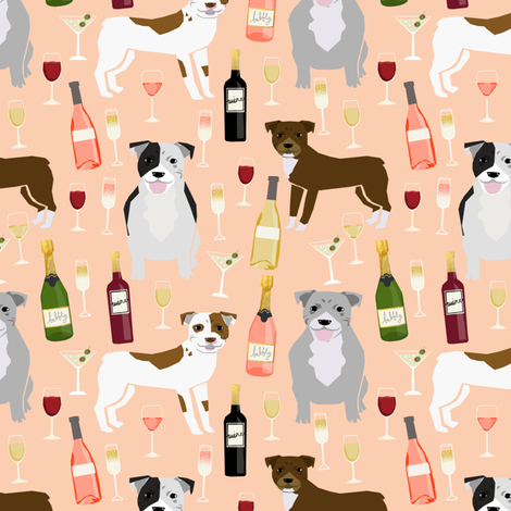 Pitbull wine champagne pattern dog breeds fabric peach fabric by petfriendly on Spoonflower - custom fabric