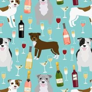 Pitbull wine champagne pattern dog breeds fabric mid blue