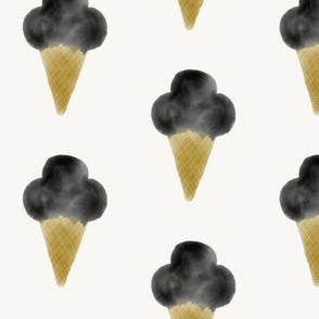 Watercolor ice-cream - ice-cream cone, watercolor abstract, hand drawn ice-cream, black and mustard summer fun