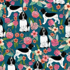 English Springer Spaniel black and white coat florals dark teal