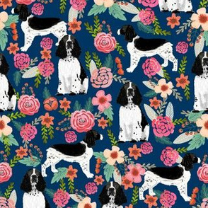 English Springer Spaniel black and white coat florals navy