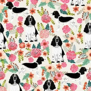 English Springer Spaniel black and white coat florals cream