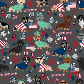 Dachshund July 4th fourth of july dog fabric charcoal