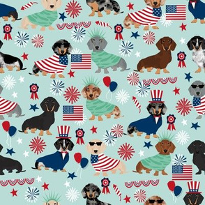 Dachshund July 4th fourth of july dog fabric lite