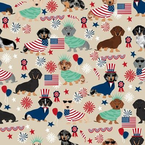 Dachshund July 4th fourth of july dog fabric sand