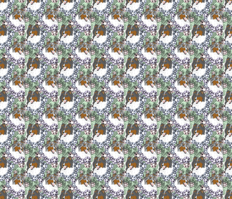 Floral Rough Collie portraits B - small fabric by rusticcorgi on Spoonflower - custom fabric