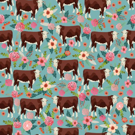 Hereford cow floral gulf blue fabric by petfriendly on Spoonflower - custom fabric