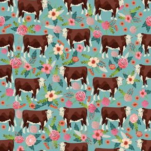 Hereford cow floral gulf blue