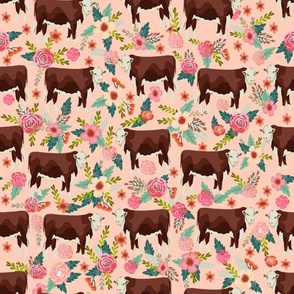 Hereford cow floral pink