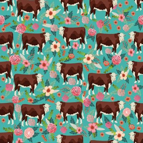Hereford cow floral turquoise